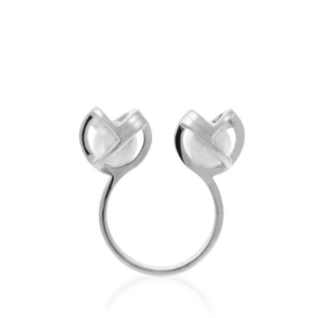 Planetaria Double Ring 12 </br>Rhodium on Sterling Silver