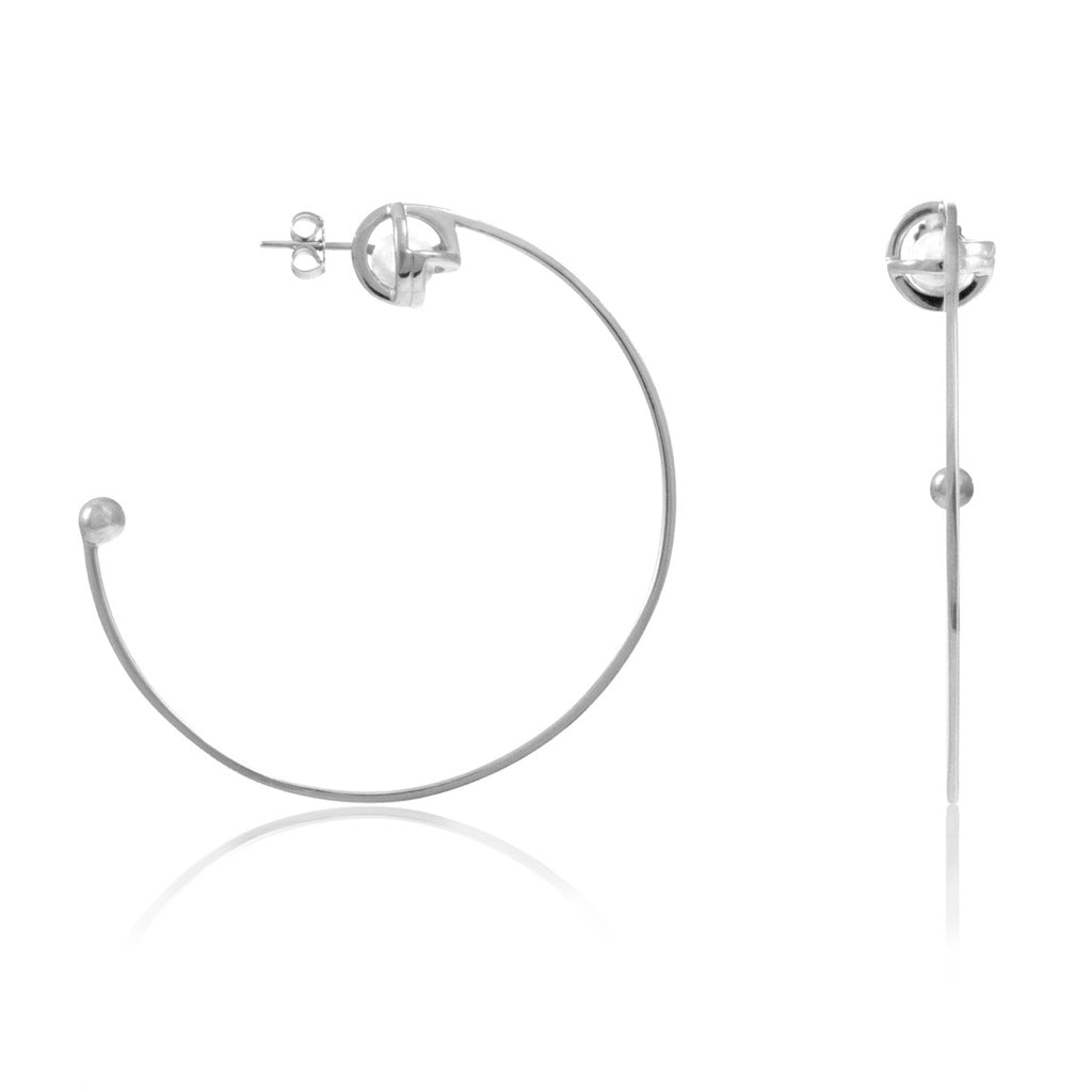 Planetaria Hoop Earrings 12 </br> Rhodium on Sterling Silver