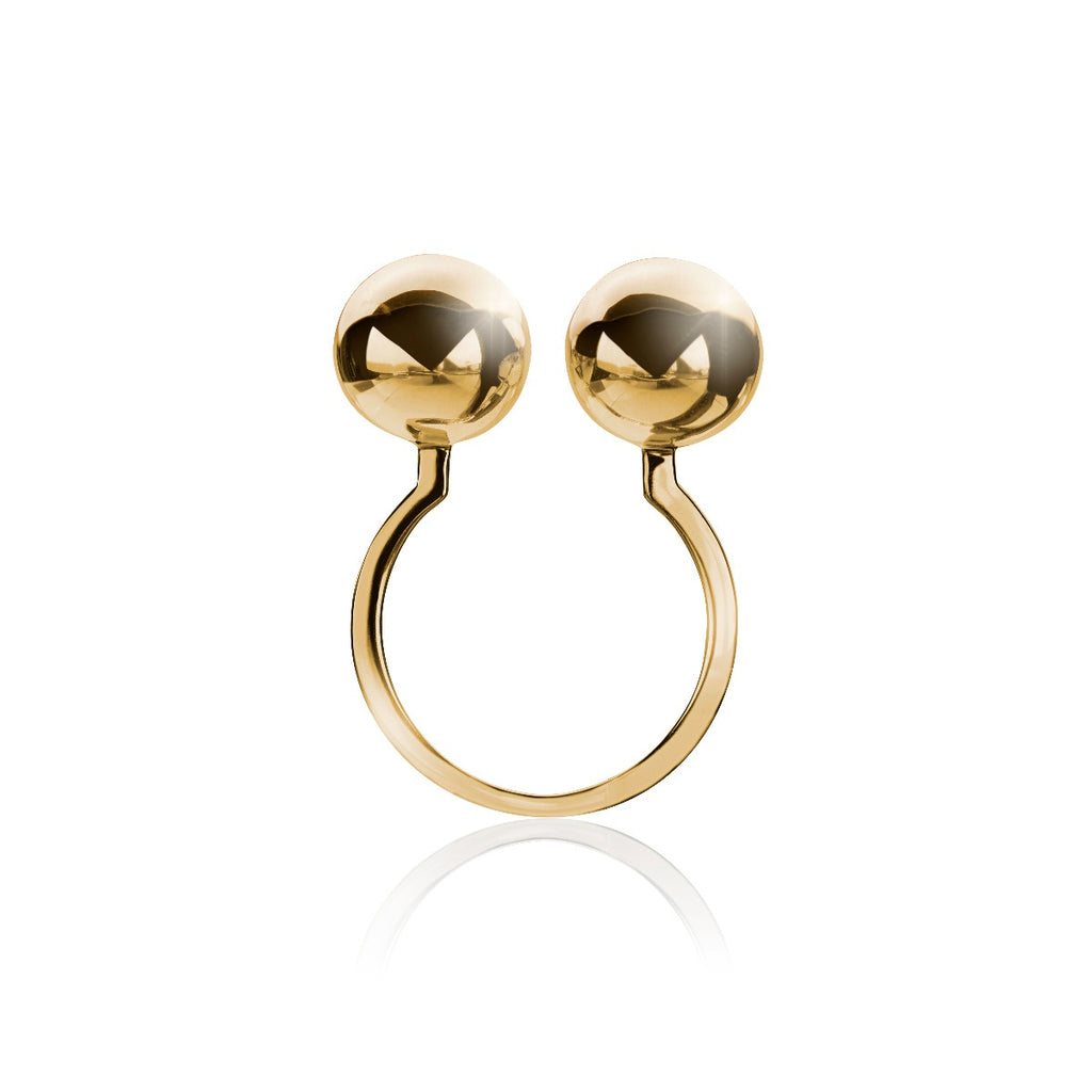 Solaris Two Moons Ring </br> 18ct Yellow Gold on Brass