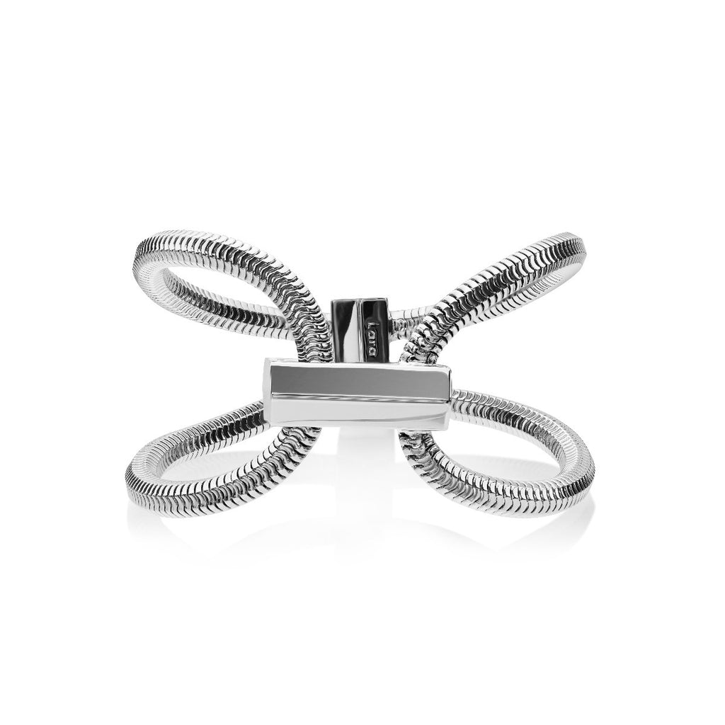 Schumacher Double Bracelet </br> Rhodium on Brass