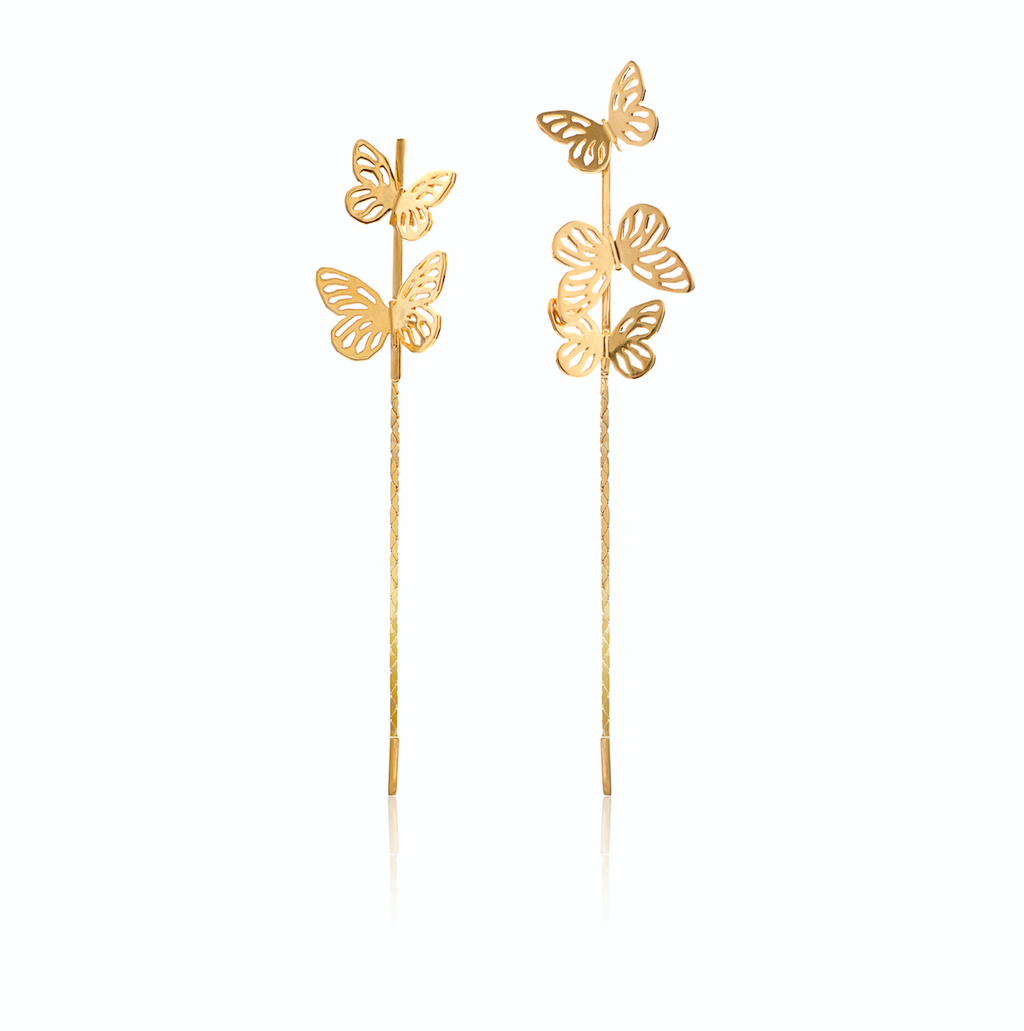 Butterfly Drop Earrings </br> Sterling Silver plated in 18ct Yellow Gold