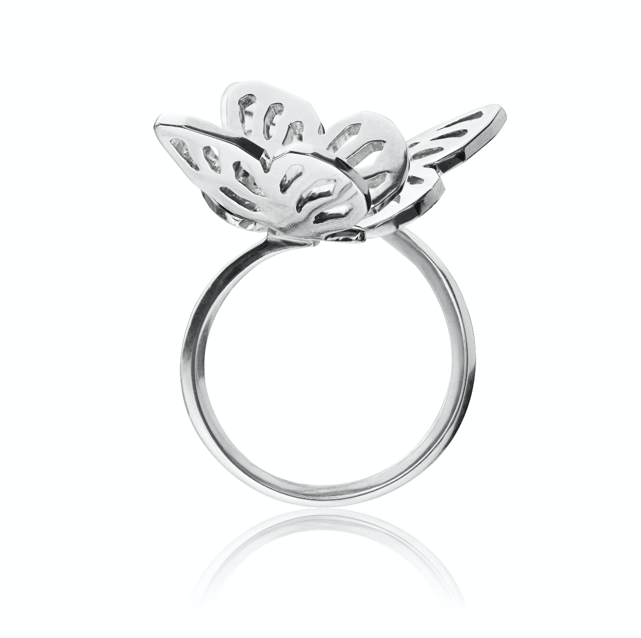 Butterfly Double Ring </br> Sterling Silver Plated in Rhodium