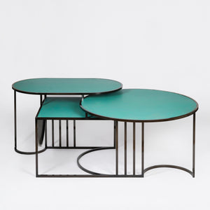 Orbit Coffee Table </br>Steel and Verdigris Copper
