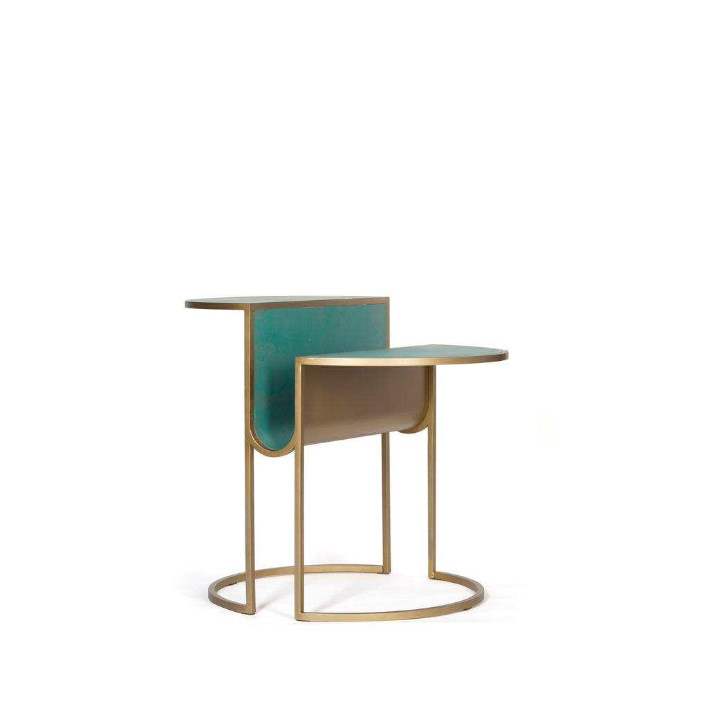Orbit Tea Table </br> Steel and Verdigris Copper