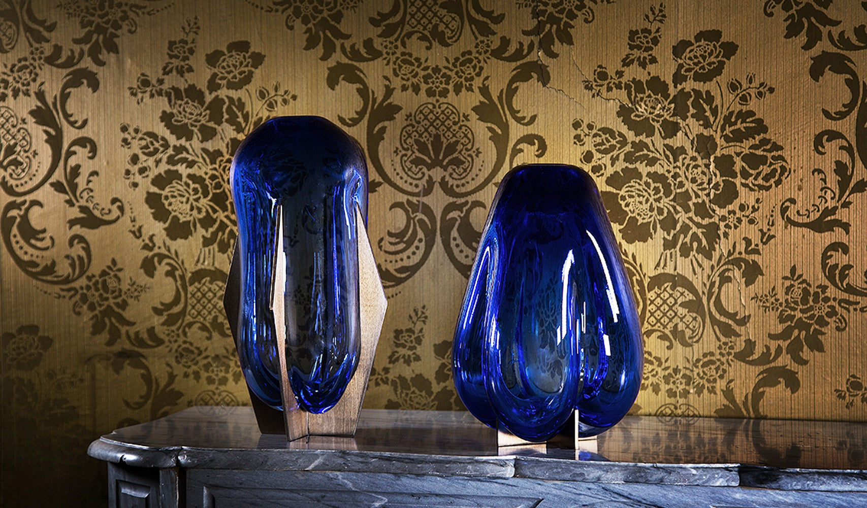 Venturi Pumpkin Blue Vase </br> Murano Glass and Metal
