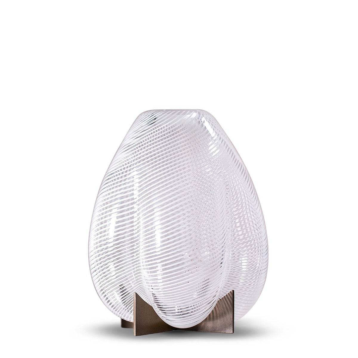 Venturi Pear White Vase Small </br> Murano Glass and Metal