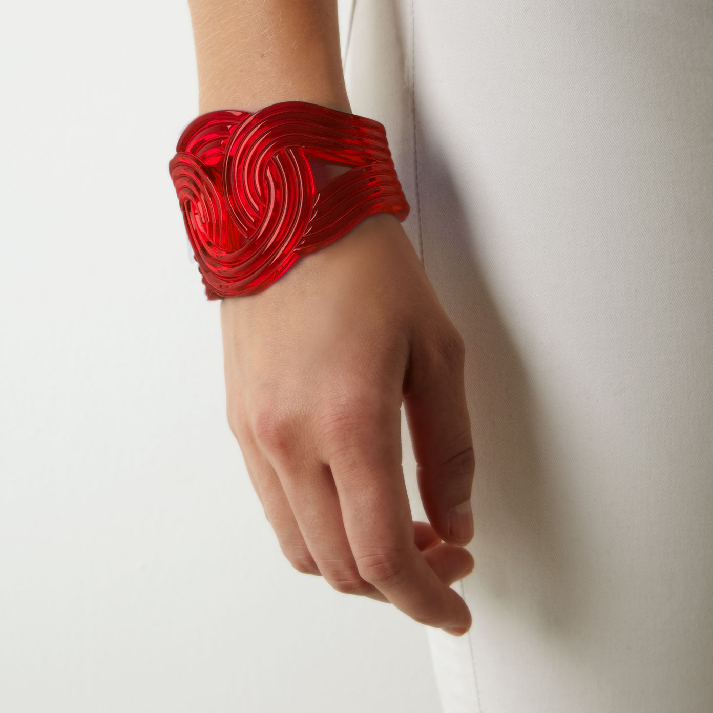 Solar Light Cuff <br /> Red Transparent