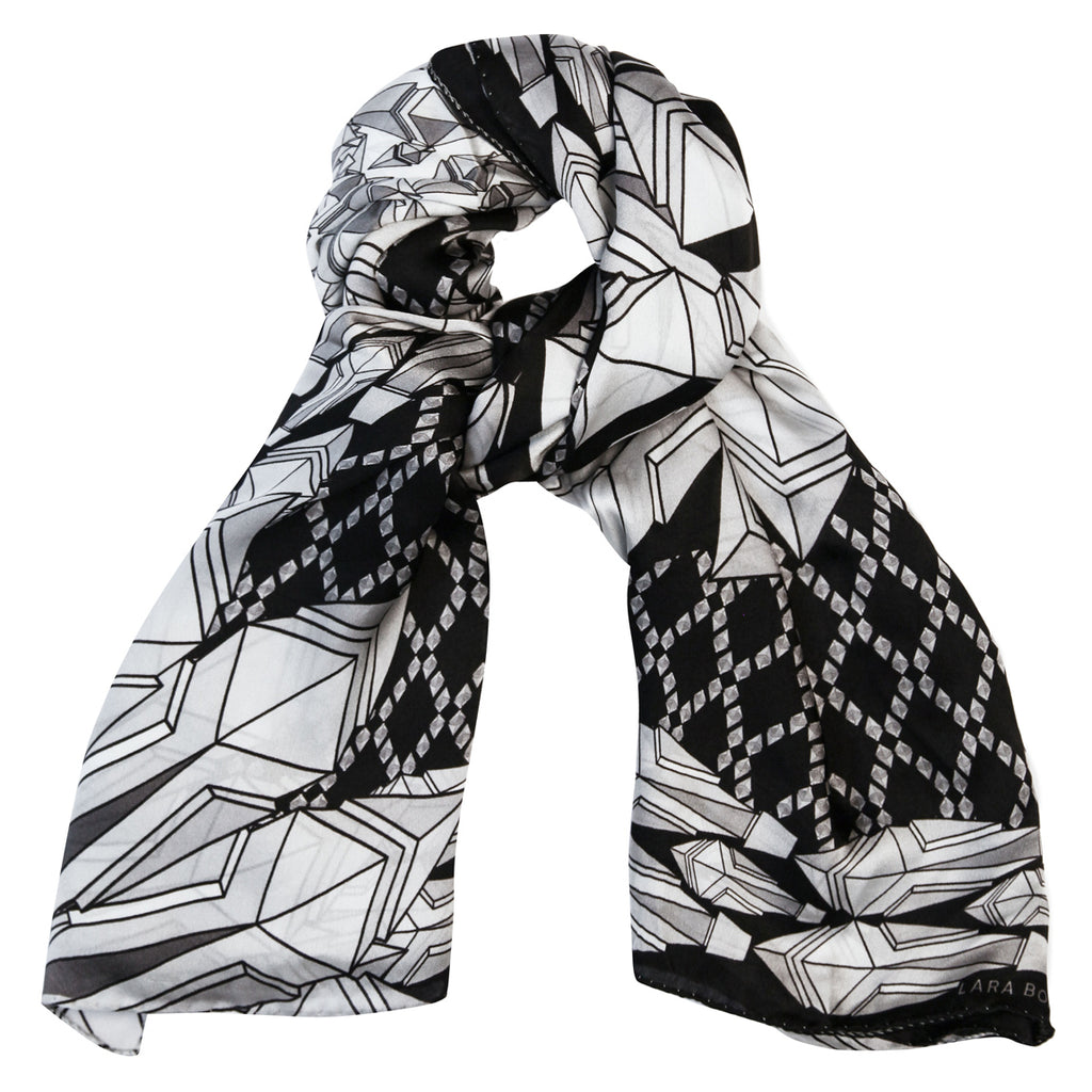 Fauna Silk Scarf </br> Black and White