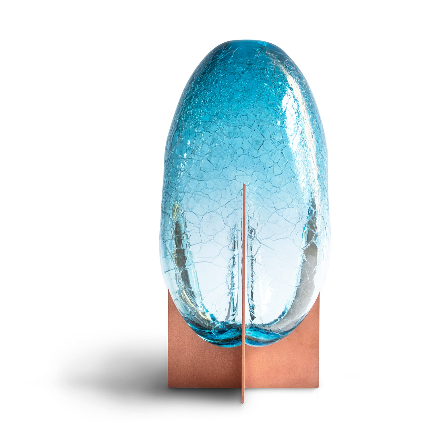 Venturi Pear Blue Crackle Vase </br> Murano Glass and Metal