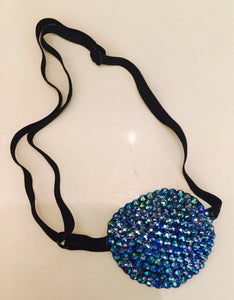 Black Padded Medical Patch In Luxury Sapphire AB Crystal Bedazzled Eye Patch