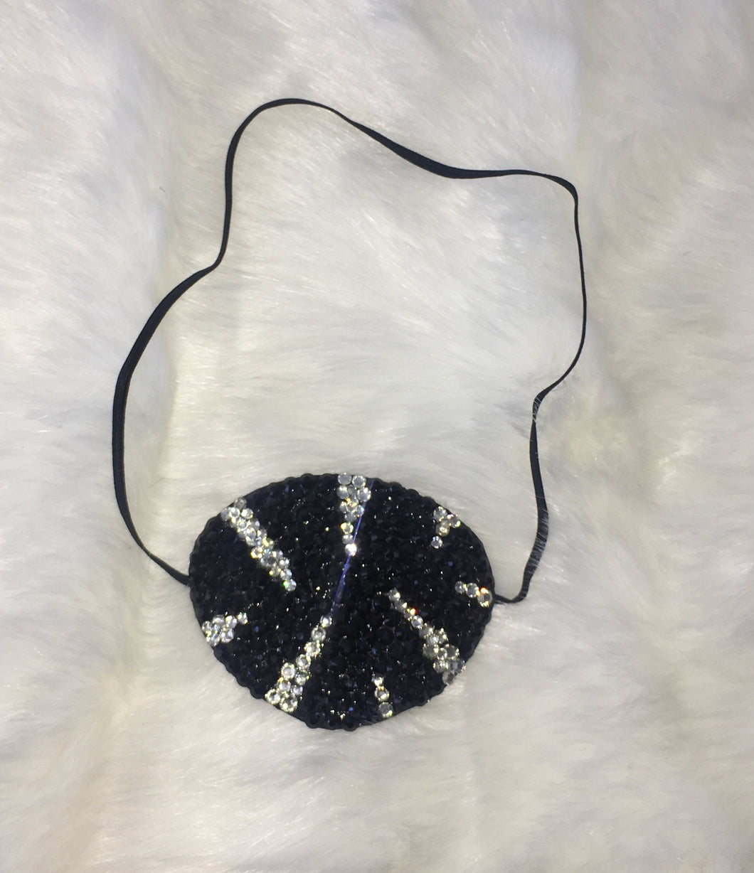 Black Eye Patch Bedazzled In Jet Black & Crystals