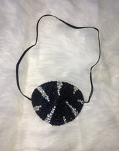 "Black Eye Patch Bedazzled In Jet Black & Crystals ""Zebra Glam"""