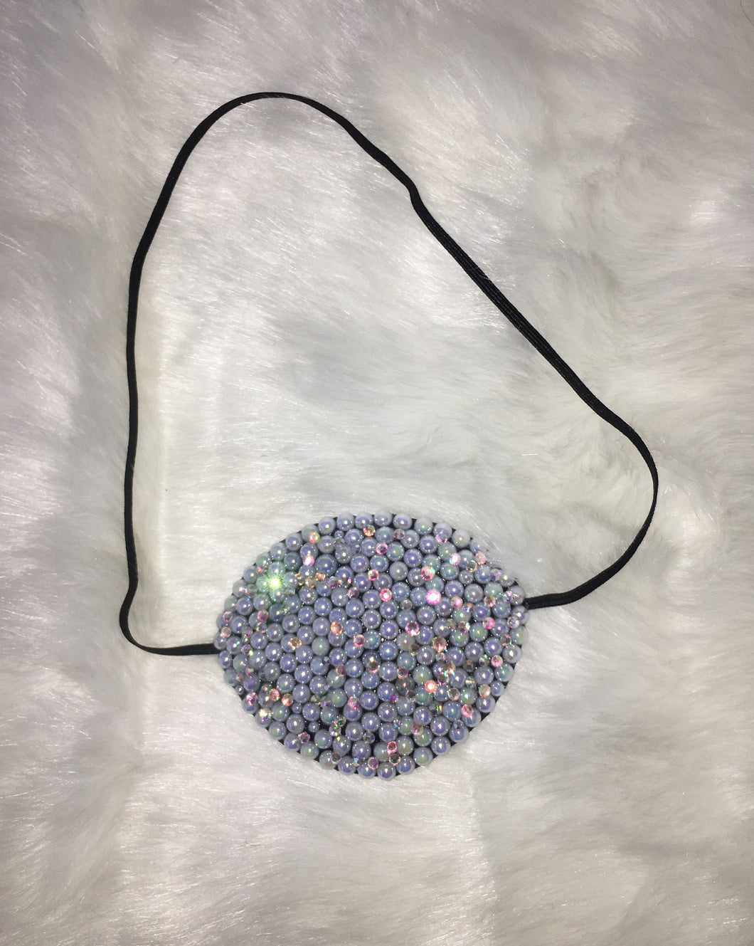 Black Eye Patch Bedazzled In AB Pearls & Crystals