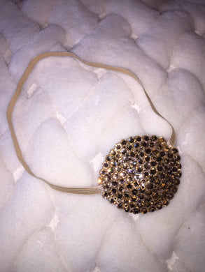 Nude/Skintone Gold Diamond Crystal Bedazzled Eye Patch