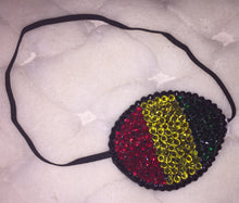 Black Eye Patch Bedazzled In Crystal Red Yellow & Green