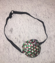 Black Padded Medical Patch In Red Green & Crystal Bedazzled Eye Patch
