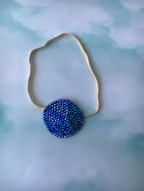Nude/Skintone Sapphire Blue AB Crystal Bedazzled Eye Patch