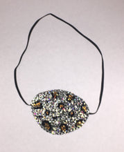 Black Eye Patch Bedazzled In Crystal Leopard Print Design