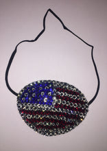 Black Eye Patch Bedazzled In USA Patriot Flag Red Blue & Crystal