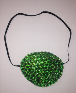 Black Eye Patch Bedazzled In Peridot Green Crystal