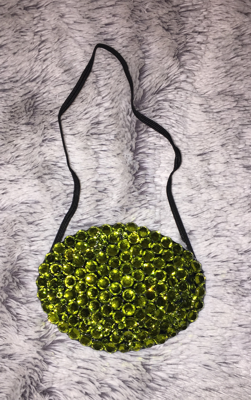 Black Eye Patch Bedazzled In Olive Green Crystal