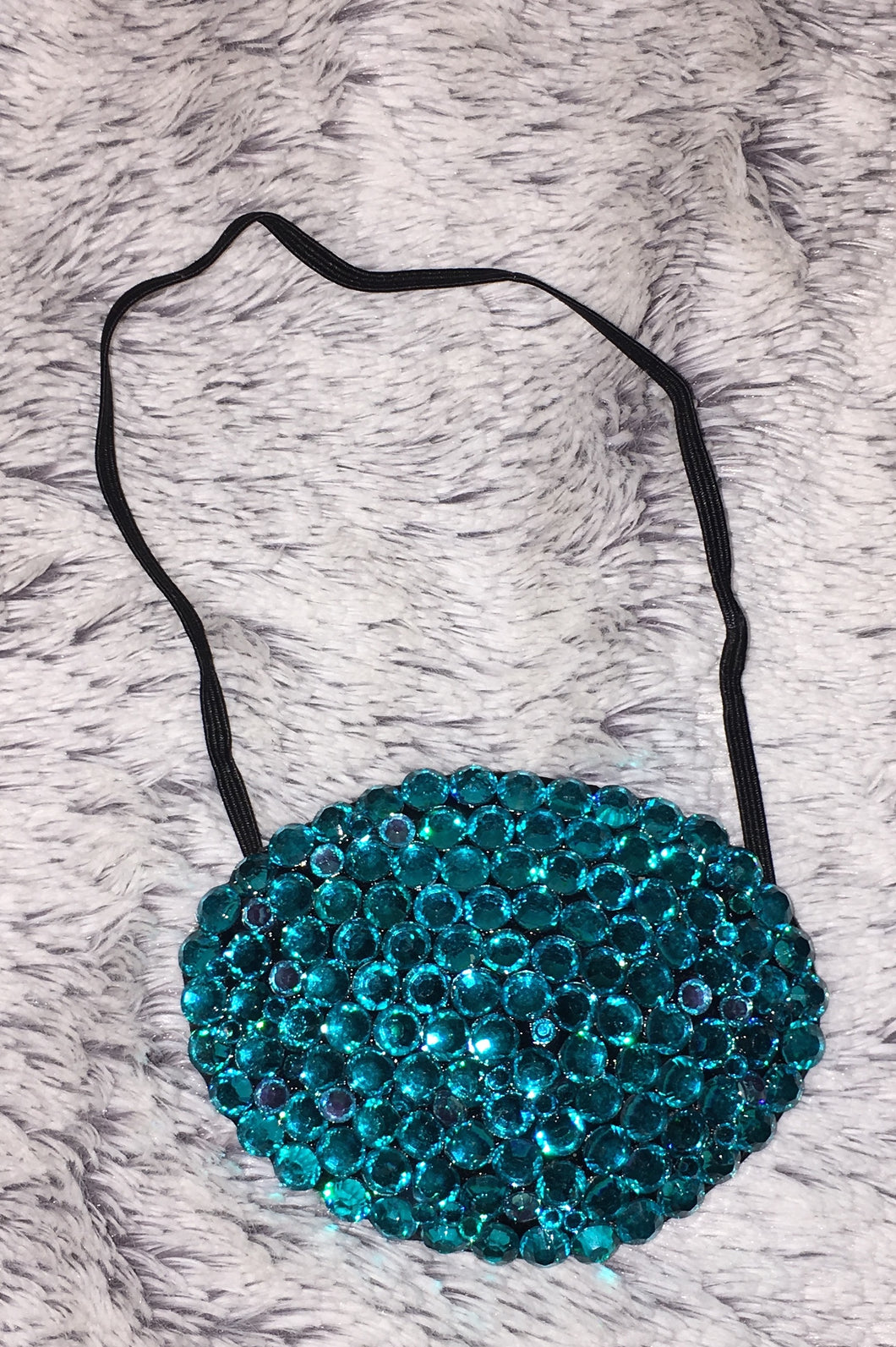 Black Eye Patch Bedazzled In Blue Zircon Crystal