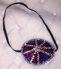 Black Eye Patch Bedazzled In UK Flag Red Blue & Crystal