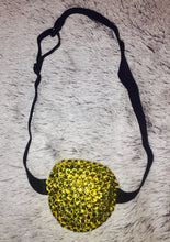 Black Padded Medical Patch In Citrus Yellow Bedazzled Eye Patch