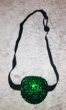 Black Padded Medical Patch In Emerald Green Bedazzled Eye Patch
