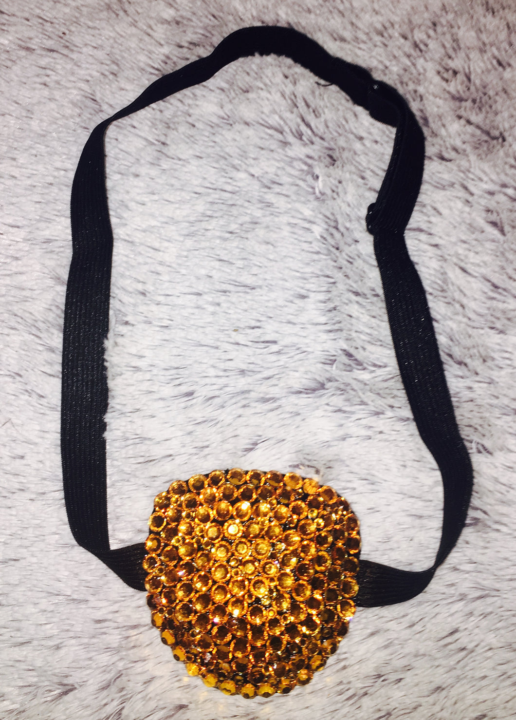 Black Padded Medical Patch In Topaz Gold Crystal Bedazzled Eye Patch