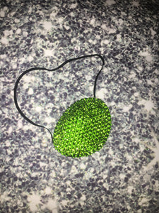 Black Eye Patch Bedazzled In Luxury Peridot Green Crystal