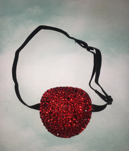 Black Padded Medical Patch In Luxury Siam Red Bedazzled Eye Patch