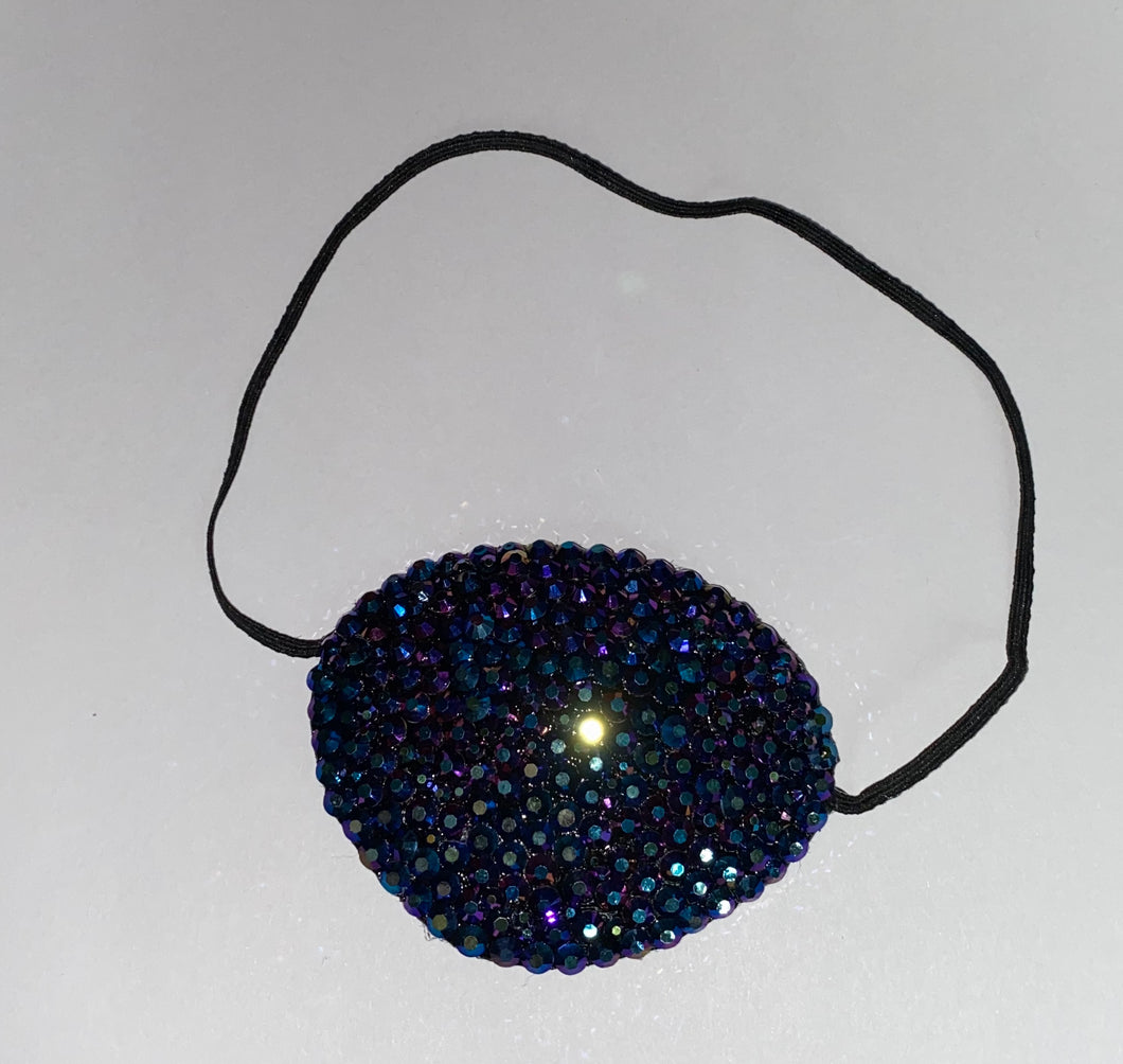 Black Eye Patch Bedazzled In Jet Black AB Crystals