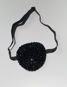 Black Padded Medical Patch In Jet Black Crystal Eye Patch