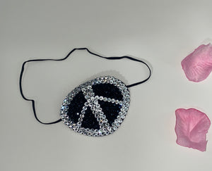 "Black Eye Patch Bedazzled In Jet Black & Luxury Crystals ""Peace"""