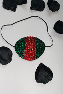 "Black Eye Patch Bedazzled In Green Red & Gold Crystals ""Just Gucci"""