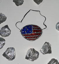 Black Eye Patch Bedazzled In USA Patriot Flag Red Blue & Luxury Crystals