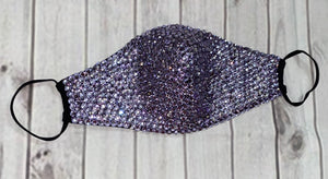 EXTRA Sparkly Bling Face Mask In Lilac & Crystal