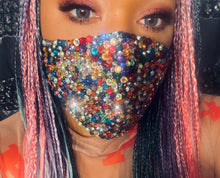 EXTRA Sparkly Bling Face Mask In Multi Mix Crystals