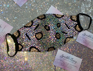 EXTRA Leopard Print Sparkly Bling Face Mask In Crystal AB
