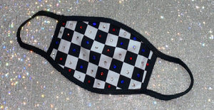 Checkered Diamonds Siam Sapphire & Crystal Face Mask