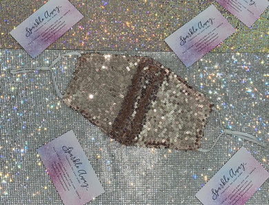 Glam Champagne Gold Sequin Face Mask