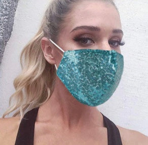 Purple Sequin Face Mask