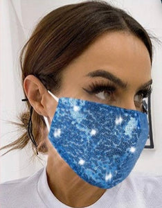 Light Sapphire Blue Sequin Face Mask