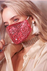 Hot Pink Sequin Face Mask