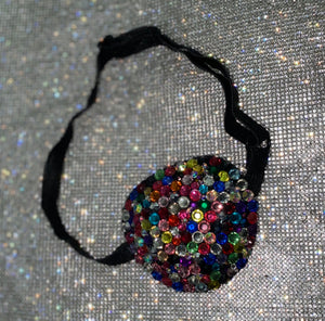Black Padded Medical Patch In Multi Colour Diamonds Bedazzled Eye Patch