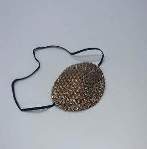 Black Eye Patch Bedazzled In Luxury Gold Crystals