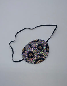 Black Eye Patch Bedazzled In Crystal AB Leopard Print Design