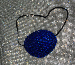 Black Eye Patch Bedazzled In Sapphire Blue Crystal