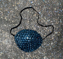 Black Eye Patch Bedazzled In Light Sapphire Blue Crystal